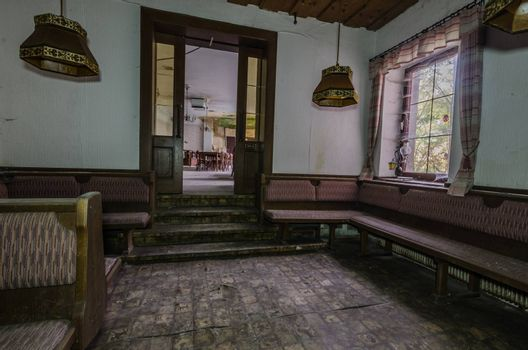 Anteroom to hall in old abandoned guest house