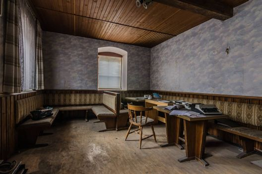 lounge of a abandoned guest house