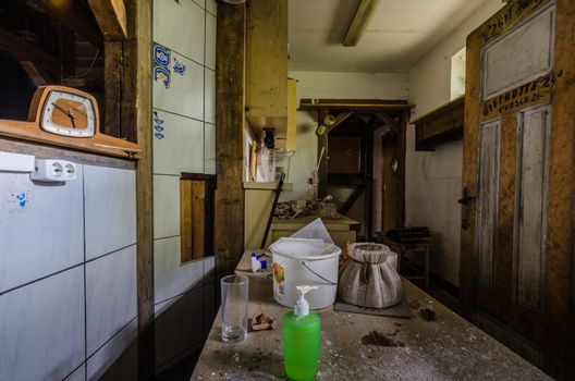 Objects in a reception of an abandoned hotel
