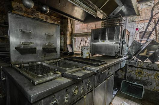 Old fryer in a kitchen of a hotel