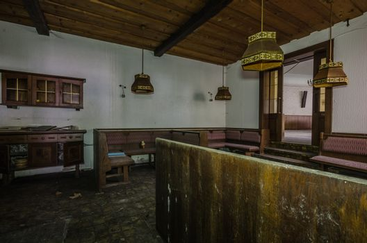 View of room in an old wooden inn
