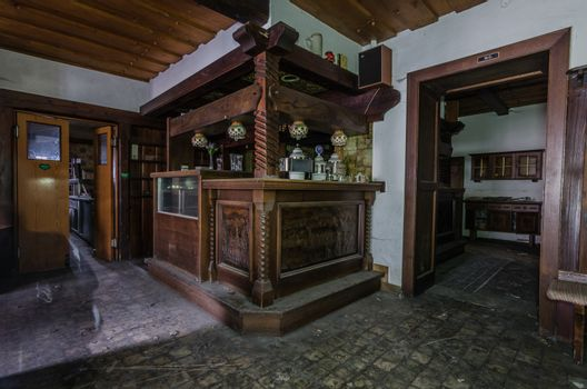 Wooden furniture in old abandoned guest house