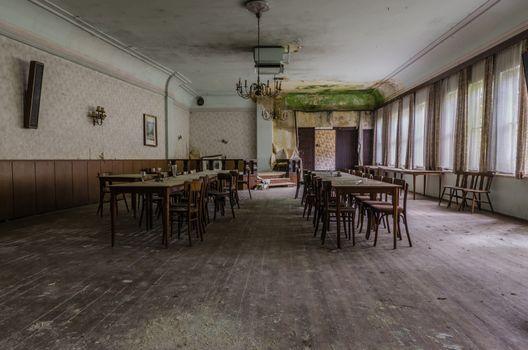 Wooden ballroom in a deserted inn