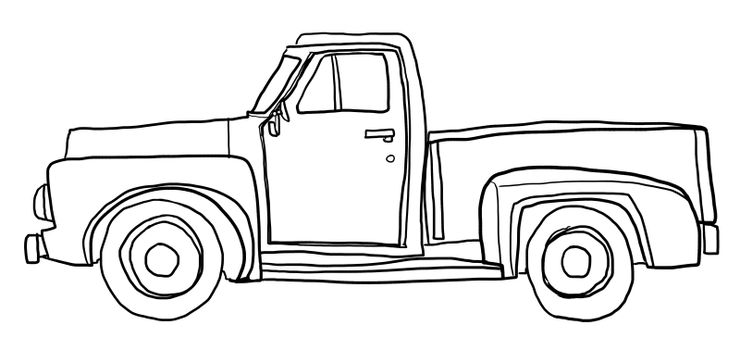 Old orange pickup truck line art cute art illustration