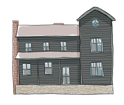 old house  cute art illustration