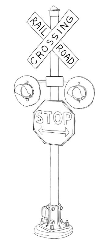 old Grade crossing signal line art