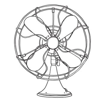 vector old fan vintage  hand drawn cute line art illustration