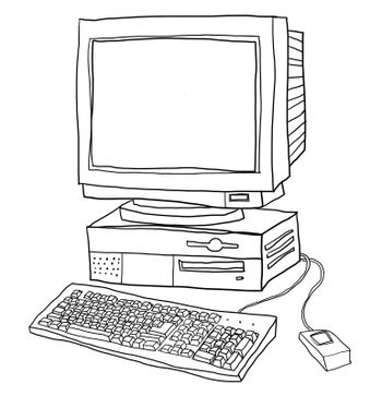 old computer desktop  cute line art illustration