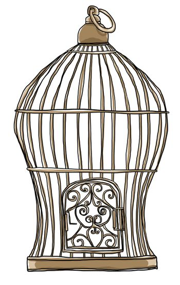 old bird cage art cute