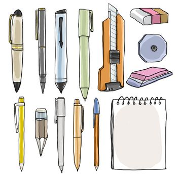 office supplies  pencil pens cutter eraser art illustration