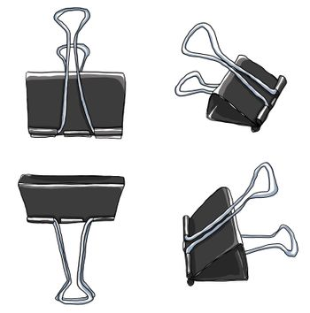 art Binder Clips Paper Clips Durable Office Paper File Organize photo clip holder office accessories painting illustration
