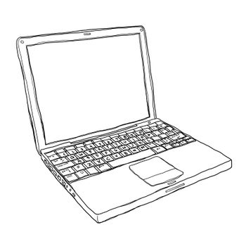 notebook computer  art painting cute line art illustration
