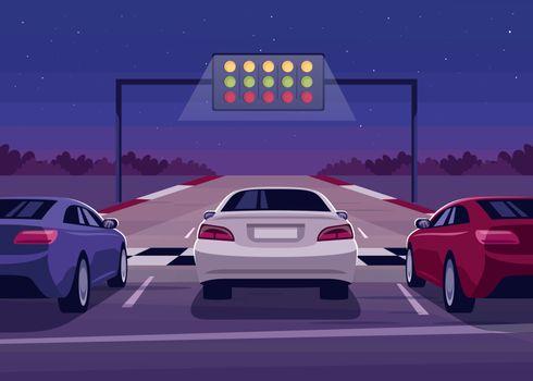 Car race semi flat vector illustration