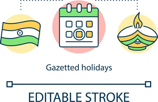 Gazetted holidays concept icon
