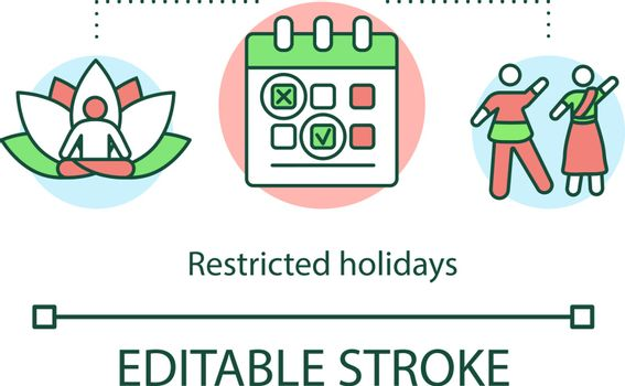 Restricted holidays concept icon