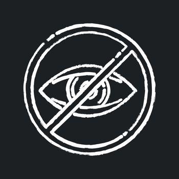 Blindness chalk white icon on black background