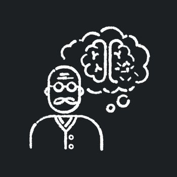 Dementia chalk white icon on black background