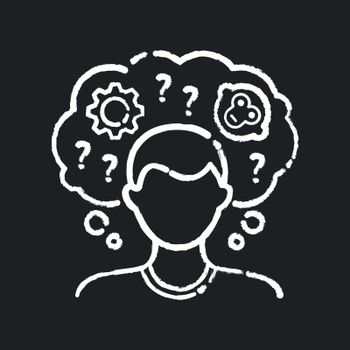 Intellectual disability chalk white icon on black background