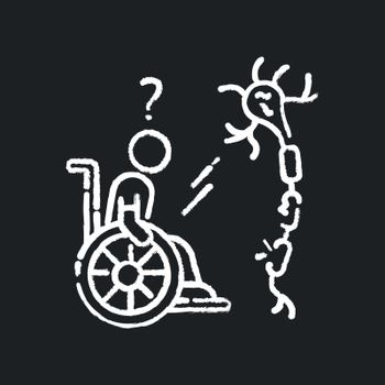 Multiple sclerosis chalk white icon on black background
