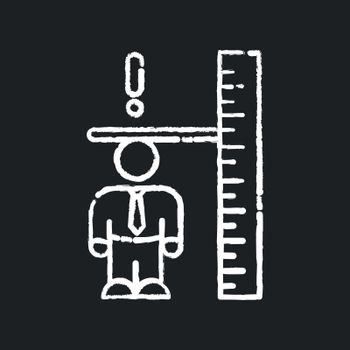 Dwarfism chalk white icon on black background. Chronic condition. Person with short height. Inclusive workplace for handicapped person. Worker with disorder. Isolated vector chalkboard illustration