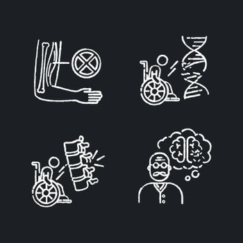 Disability chalk white icons set on black background