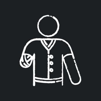 Hand amputee chalk white icon on black background. Disabled man. Damaged hand from injury. Patient with trauma. Medical support after accident. Isolated vector chalkboard illustration