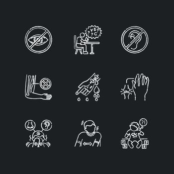 Illness types chalk white icons set on black background. Deafness and blindness. Muscular dystrophy. Bleeding from hemophilia. Sensory hypersensitivity. Isolated vector chalkboard illustrations