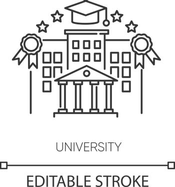 University pixel perfect linear icon. Higher education, student lifestyle thin line customizable illustration. Contour symbol. Academic institution. Vector isolated outline drawing. Editable stroke