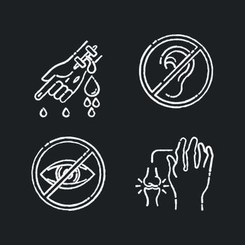 Health care problem chalk white icons set on black background. First aid for cut vein. Deafness and blindness. Sensory impairment. Rheumatoid arthritis. Isolated vector chalkboard illustrations