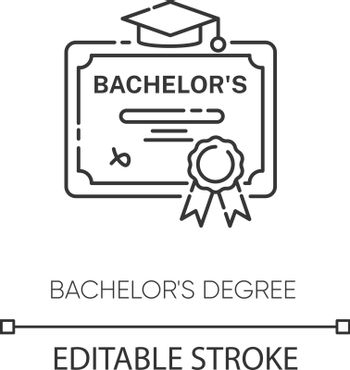 Bachelors degree pixel perfect linear icon. Higher education thin line customizable illustration. Contour symbol. Student diploma, academic certificate vector isolated outline drawing. Editable stroke