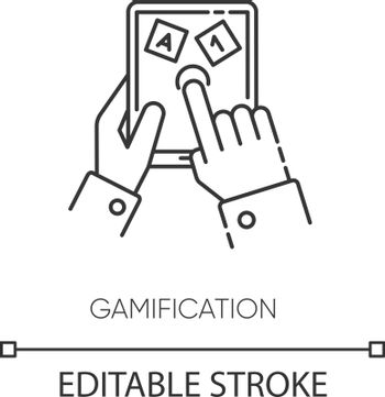 Gamification pixel perfect linear icon. Entertaining education thin line customizable illustration. Contour symbol. Learning and playing. Vector isolated outline drawing. Editable stroke