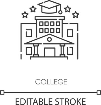 College pixel perfect linear icon. Higher education thin line customizable illustration. Contour symbol. Academic institution, university graduation. Vector isolated outline drawing. Editable stroke