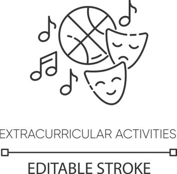 Extracurricular activities pixel perfect linear icon. Sport training, drama class and music thin line customizable illustration. Contour symbol. Vector isolated outline drawing. Editable stroke