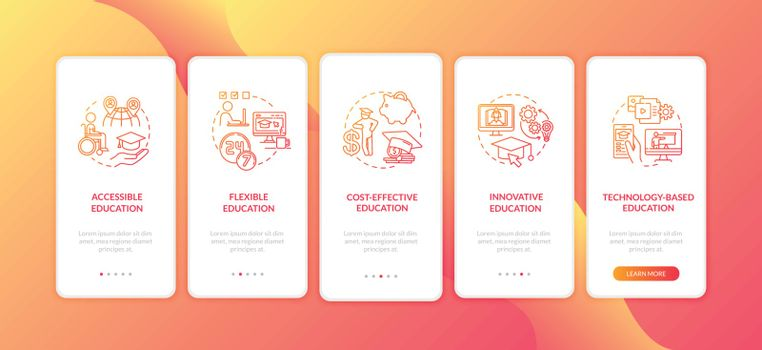 Distance learning pros onboarding mobile app page screen with concepts. Cost effective education walkthrough 5 steps graphic instructions. UI vector template with RGB color illustrations