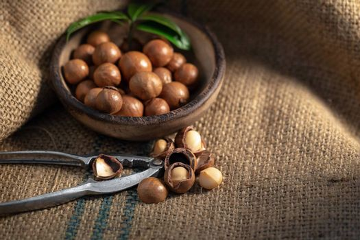 Macadamia nuts on sackcloth in dark light