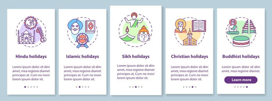 Indian religious holidays onboarding mobile app page screen with concepts. Public holidays in India. Walkthrough 5 steps graphic instructions. UI vector template with RGB color illustrations