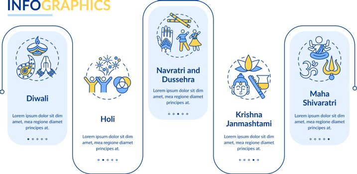 Top Hindu festivals vector infographic template. Navratri, and Dussehra. Presentation design elements. Data visualization with 5 steps. Process timeline chart. Workflow layout with linear icons
