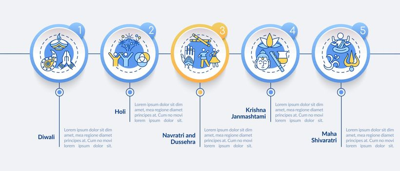 Top Hindu festivals vector infographic template. Public holidays in India. Presentation design elements. Data visualization with 5 steps. Process timeline chart. Workflow layout with linear icons