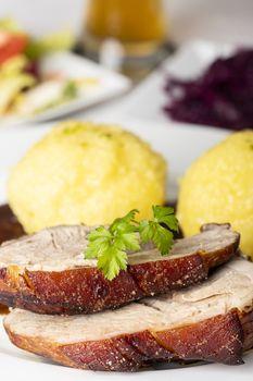 bavarian roasted pork with dumplings