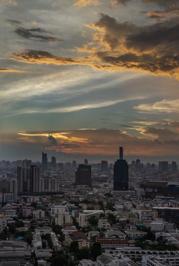 Bangkok, Thailand - Jun 21, 2020 : Beautiful city view of Bangkok before the sunset creates relaxing feeling for the rest of the day. Selective focus.