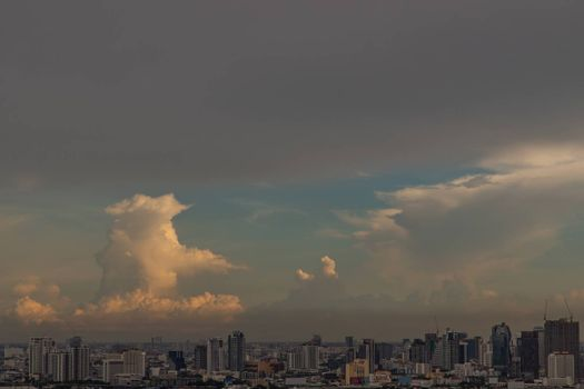 Bangkok, Thailand - Jun 23, 2020 : Beautiful city view of Bangkok before the sunset creates relaxing feeling for the rest of the day. Selective focus.