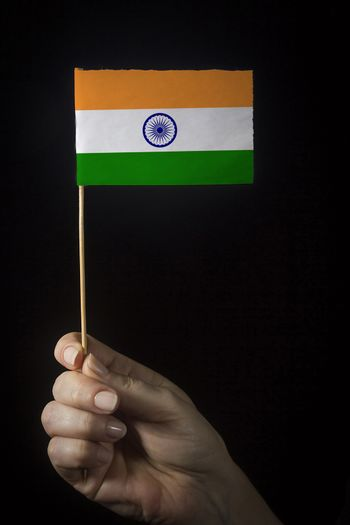 Hand with small flag of state of India