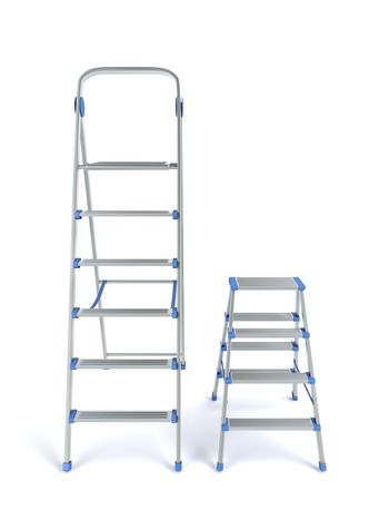 Two aluminum stepladders with different sizes on white background