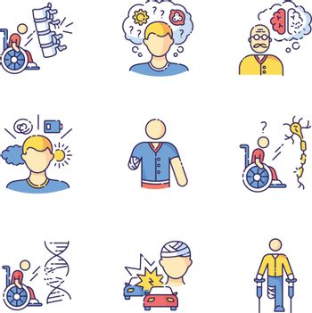 Patient with disability RGB color icons set
