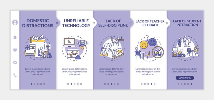 Distance learning disadvantages onboarding vector template. Lack of student interaction. Responsive mobile website with icons. Webpage walkthrough step screens. RGB color concept