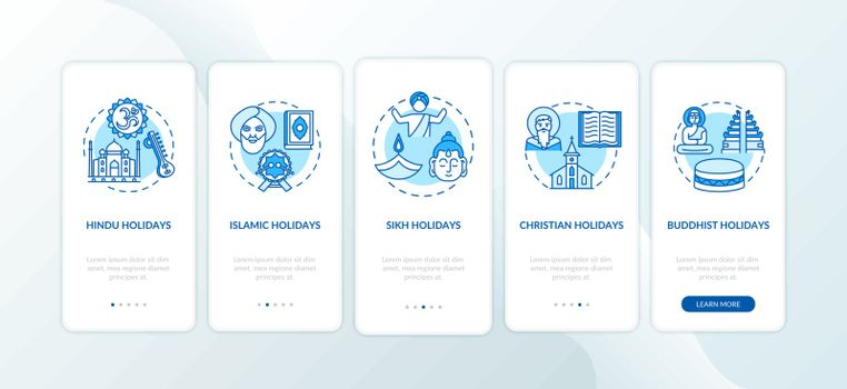 Indian religious holidays onboarding mobile app page screen with concepts. Hindu and Islamic holidays. Walkthrough 5 steps graphic instructions. UI vector template with RGB color illustrations