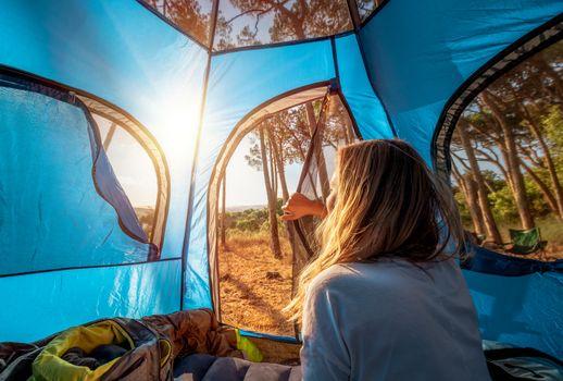 Female Enjoying Camping