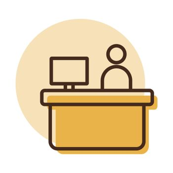 Hotel reception service vector icon. Graph symbol for travel and tourism web site and apps design, logo, app, UI