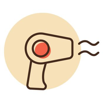 Hair dryer flat vector icon. Graph symbol for household electric web site and apps design, logo, app, UI