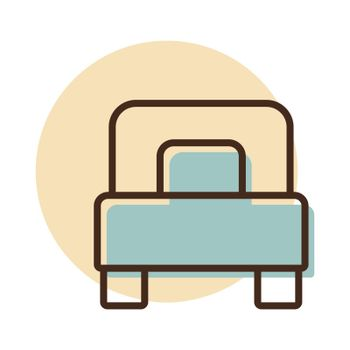 Single bed flat vector icon. Graph symbol for travel and tourism web site and apps design, logo, app, UI